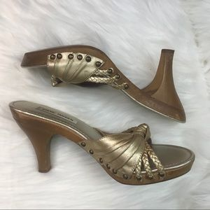 Steve Madden Gold Studded Wooden Heels